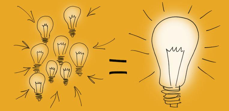 L'idee creative, come delle lampadine, se le metti assieme fanno più luce