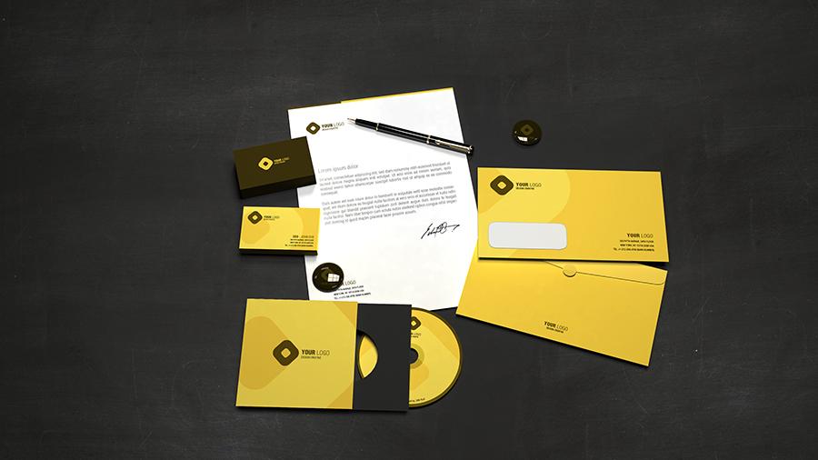 Immagine coordinata: Carta intestata, copertina CD/DVD, biglietti da visita, busta da lettere per Brand Identity