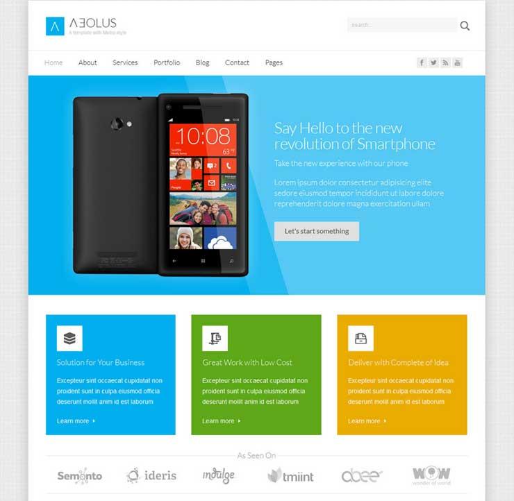 Layout sito web con Flat Design, piatto, semplice e minimal, senza ombre, texture e sfumature