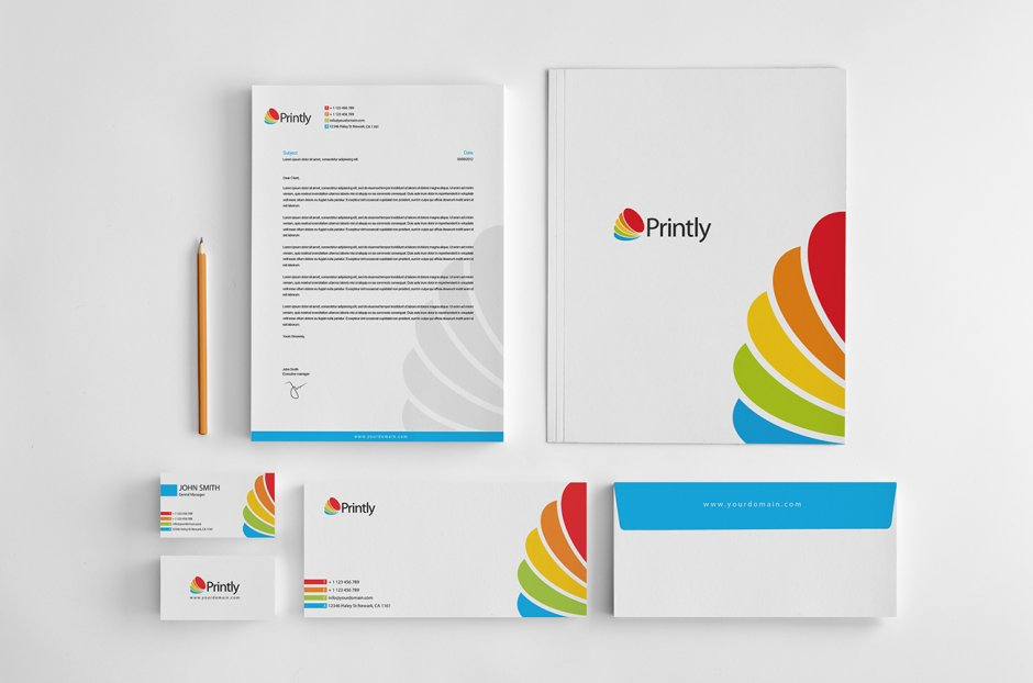 Cartellina, biglietti da visita, carta e busta intestata per Corporate Identity (1)