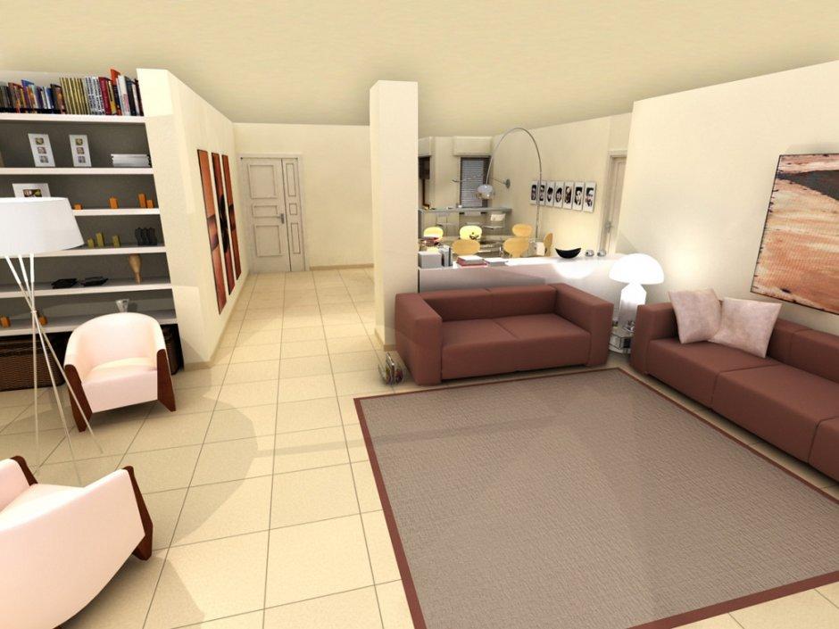 Inquadratura e vista del modello 3D dell'appartamento con arredi in primo piano