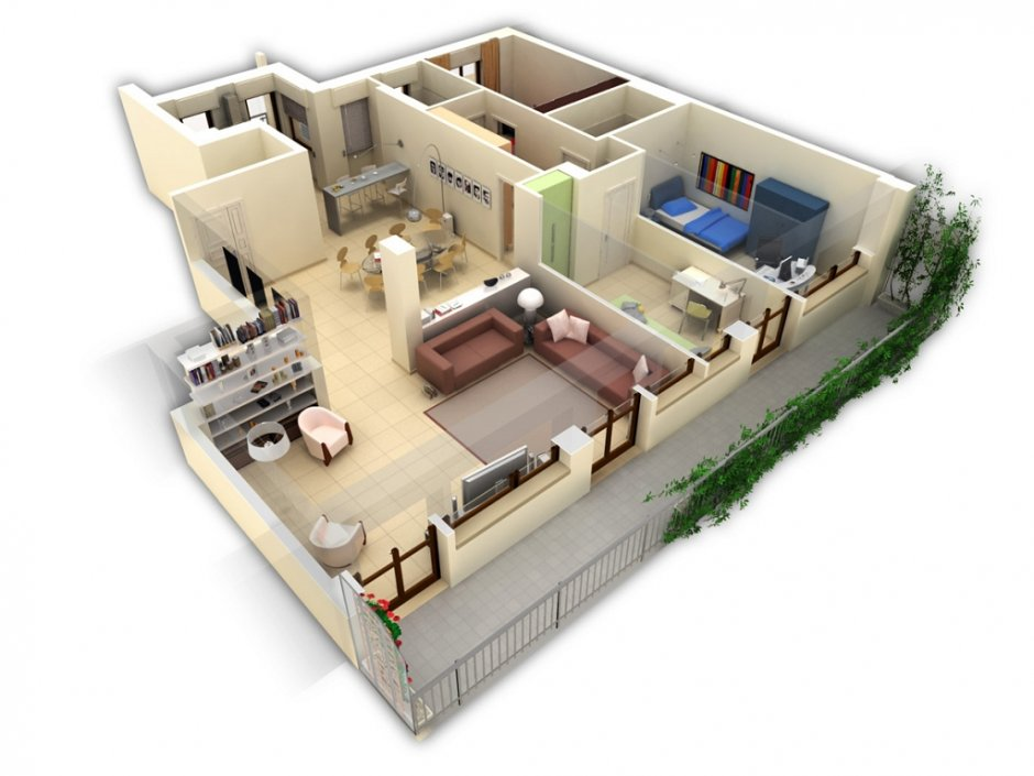Ombre e mobilia per simulazione di arredo