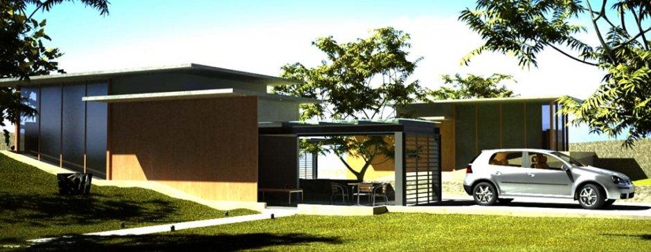 Restituzione 3D di edificio residenziale, con inserimento paesaggistico