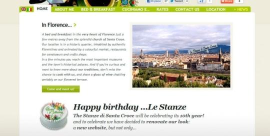 Ecco un bel sito web realizzato per un Bed & Breakfast a Firenze