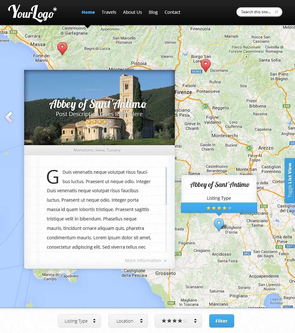 Sito internet di agenzia di viaggi con mappa interattiva for Sito web di design di mobili