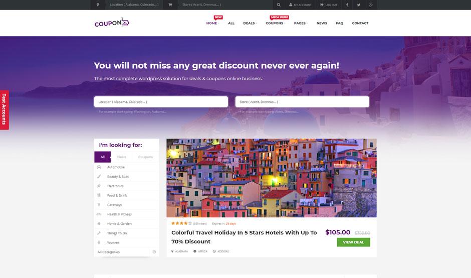 Sito web stile Groupon realizzato in WordPress