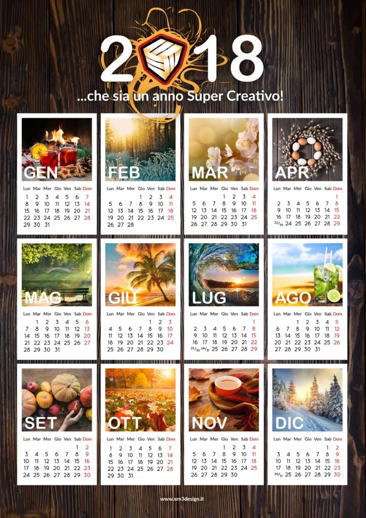 Calendario gratis 2018 EM3DESIGN alta definizione formato jpg