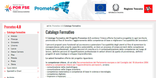 Prometeo 4 sito per Regione Toscana