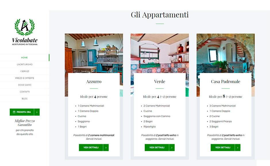 sezioni multiple di prenotazione on-line sito agriturismo toscana