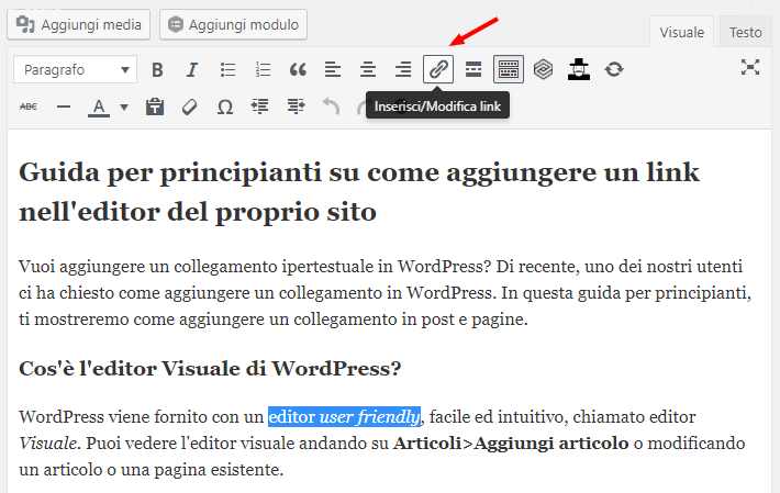 pulsante Inserisci Modifica link editor visuale WordPress