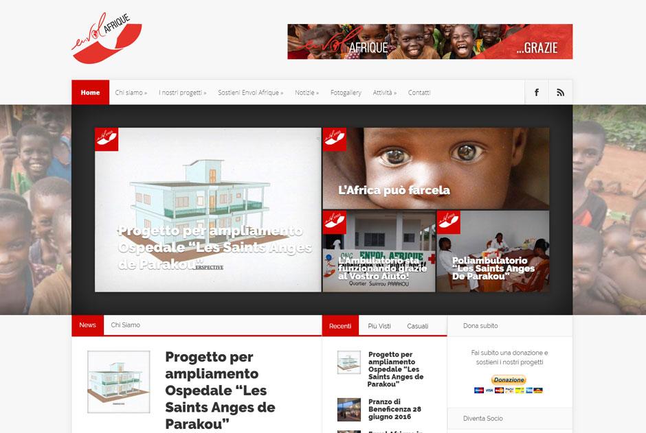 Home page del sito envolafrique.org che raccogli fondi per progetti di sviluppo in Africa per svariate opere di solidarietà e volontariato.