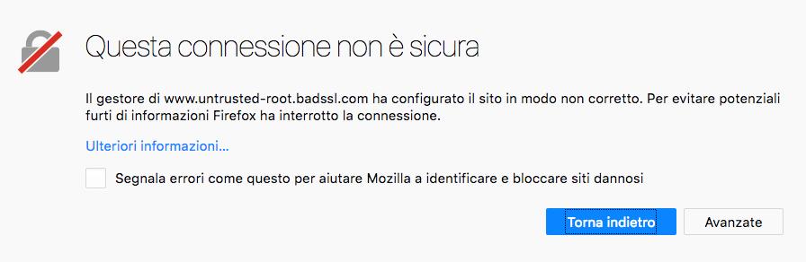 Errore sito non sicuro