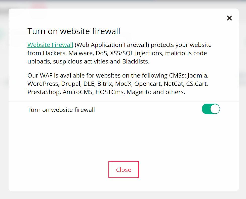 pop up di controllo firewall Virusdie