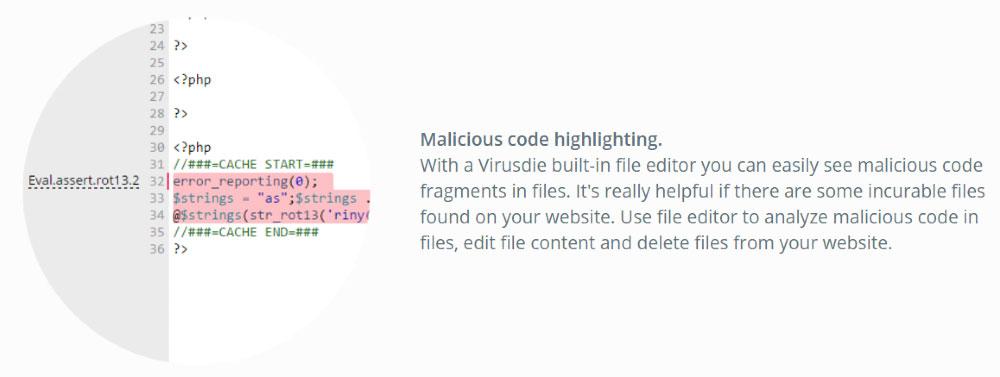 virusdie evidenziazione codice malevole editor integrato